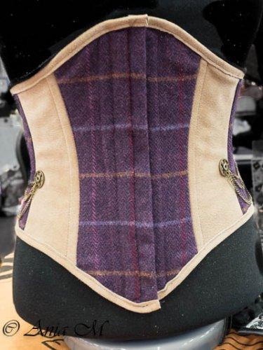 Tweed and suede corset